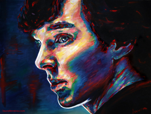 Benedict Cumberbatch as Sherlock 12 x 16 acrylic on canvas