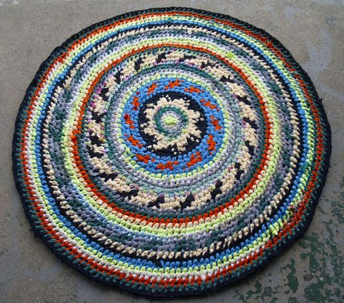 kaleidoscope Fair Isle Rag Rug~ in my shop (sockmonster.etsy.com) Made with %100 thrifted fabric.
