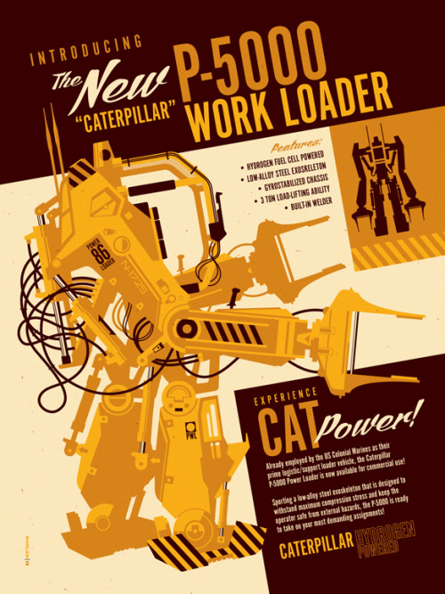"P-5000 Power Loader by Tom Whalen / Website / Tumblr 18"" X 24"" 3 colour screen print, edition of 50. Part of the Product Placement art show at Gallery1988 / Tumblr."