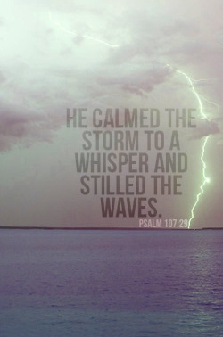 "spiritualinspiration:  Then He arose and rebuked the wind, and said to the sea, 'Peace, be still!' And the wind ceased and there was a great calm. (Mark 4:39, NKJV.)  What do you do when the storms of life seem to be raging against you? One time Jesus was with His disciples in a boat out on the water when they encountered a great storm. The disciples were very afraid but Jesus, on the other hand, was fast asleep. When the disciples woke Him up to see if He could help them, Jesus got up and simply spoke to the storm, ""Peace! Be still."" And the seas were calm again.  When difficult times come, you don't have to be overwhelmed by the waves of worry or fear. Just as Jesus stood up and spoke to the storm, you have power in your words, too. As a believer, the Bible tells us that the same Spirit that raised Christ from the dead dwells in you. That means God's miracle-working power is on the inside of you. He's given you His authority to declare peace over your home, over your mind, and over your family. Remember, no matter what storms may come against you, the Greater One lives on the inside of you, and He'll empower you to live in victory in every area of your life!"