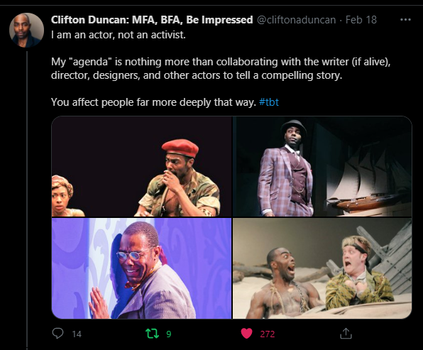 My sentiments exactly. Bring back the arts without endless strife, politicking and bickering and 'cancelling'. #clifton duncan#actors#actresses#art#hollywood#acting#writers#directors#designers#stunts people#sjws#representation#woke culture#wokeness#inclusivity#racism#sexism #and other politics that just spoils the show for fans everywhere in the world  #entertainment needs to be about entertainment again #not politics#mood