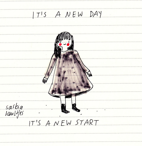 Today: a fresh start – mood drawing on found paper – by Saskia Keultjes  facebook