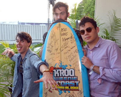 Ezra Koenig, Chris Tomson, Rostam Batmanglij backstage at KROQ Weenie Roast 2013 (Photo by Lester Cohen)