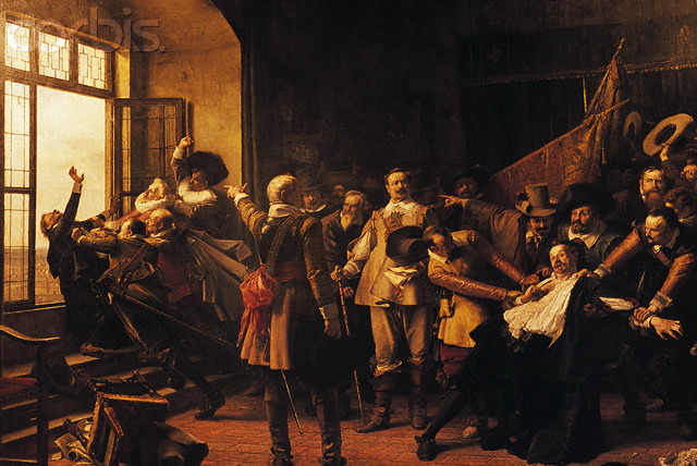 Defenestration of Prague Defenestration is the act of throwing someone or something out of a window. Although defenestrations can be fatal the act of defenestration need not carry the intent or result of death. The term originates from two incidents in history, both occurring in Prague. In 1419, seven town officials were thrown from the Town Hall, precipitating the Hussite War [Source]. Then, after Roman Catholic officials in Bohemia closed Protestant chapels in 1617, violating the guarantees of religious liberty laid down in the Letter of Majesty of Emperor Rudolf II, defensors, appointed to safeguard Protestant rights, responded by calling an assembly where the imperial regents were tried and found guilty of violating the Letter of Majesty. They, along with their secretary, were then thrown from the windows of the council room of Prague Castle on May 23, 1618. Although inflicting no serious injury on the victims, that act, known as the Defenestration of Prague, was a signal for the beginning of a Bohemian revolt against Ferdinand II, marking one of the opening phases of the Thirty Years' War. [Source] These incidents, particularly in 1618, were referred to as the Defenestrations of Prague and gave rise to the term and the concept, though, one may read about other notable defenestrations in history here.