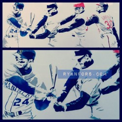 Newest piece: Ken Griffey Jr #griffey #baseball #ryanfors #mariners #reds #iwantastencil #igsneakercommunity