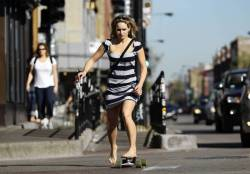 Skateboarding along Milwaukee Avenue in Chicago