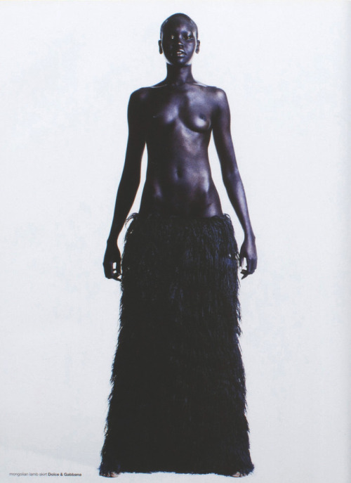 dolce & gabbana f/w 1999, alek wek by michael thompson for dutch september 1999