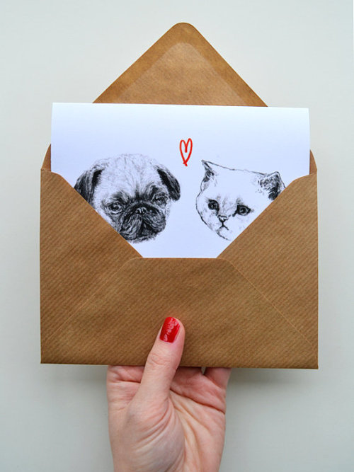 mugsofpugs:   Pug and Cat Card by Harriet Gray