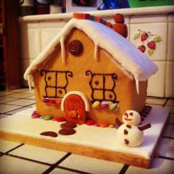 Baked a biscuit house for Christmas Day with my Dad & Brother today :) happy.
