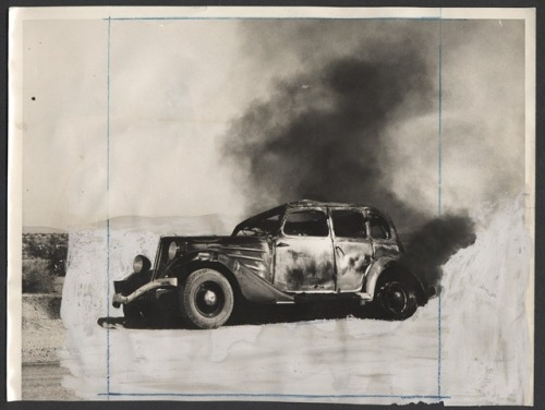(via Arty smoking car photo ~ Candler Arts) … press photo, marked up for publication.
