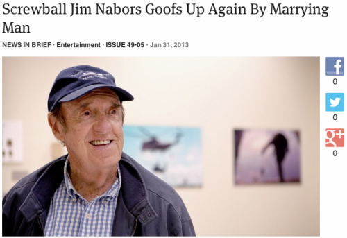Screwball Jim Nabors Goofs Up Again By Marrying Man: Full Story