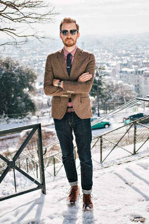 March 13, 2013. Top of Montmartre. Blazer: Topman - $110Shirt: Topman - $44Jeans: American Eagle - $26Boots: Dune - Topman - $120 (similar)Tie: Etsy - $12Tie Bar: The Tie Bar - $15 (similar)Sunglasses - Ray Ban Clubmaster in Tortoise - $89Watch: Timex - Amazon - $31Belt: Levis - $10 (Marshalls) (similar)