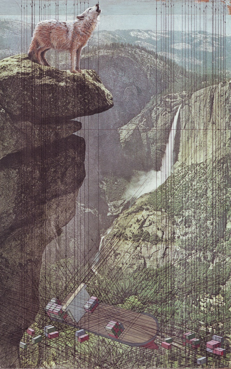 cassket:  Mary Iverson 'Yosemite' - Acrylic, ink and found photo on panel