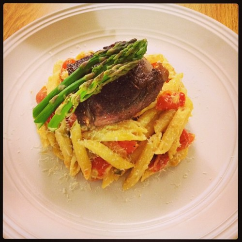 Homemade dinner for one. #pasta #steak #asparagus #innerfatty #itsbeenalongweek