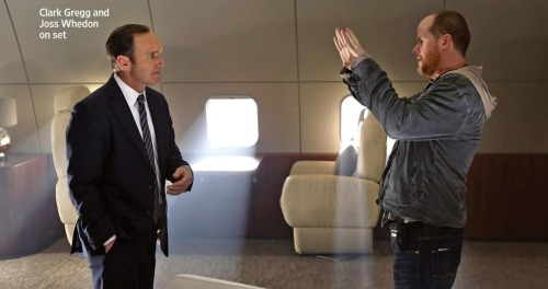 Joss Whedon and Clark Gregg on the set of Agents of SHIELD.