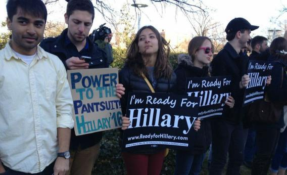 POWER TO THE PANTSUIT!  Slate: Hillary 2016: Supporters rally outside Clinton speech at Kennedy Center.