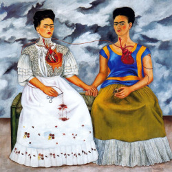 "foxesinbreeches:  Las dos Fridas (The Two Fridas) by Frida Kahlo, 1939 ""My blood is the miracle that travels in the veins of the air from my heart to yours."""