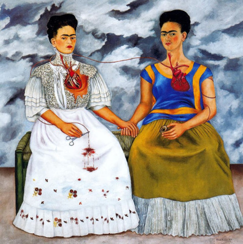 "Las dos Fridas (The Two Fridas) by Frida Kahlo, 1939 ""My blood is the miracle that travels in the veins of the air from my heart to yours."""