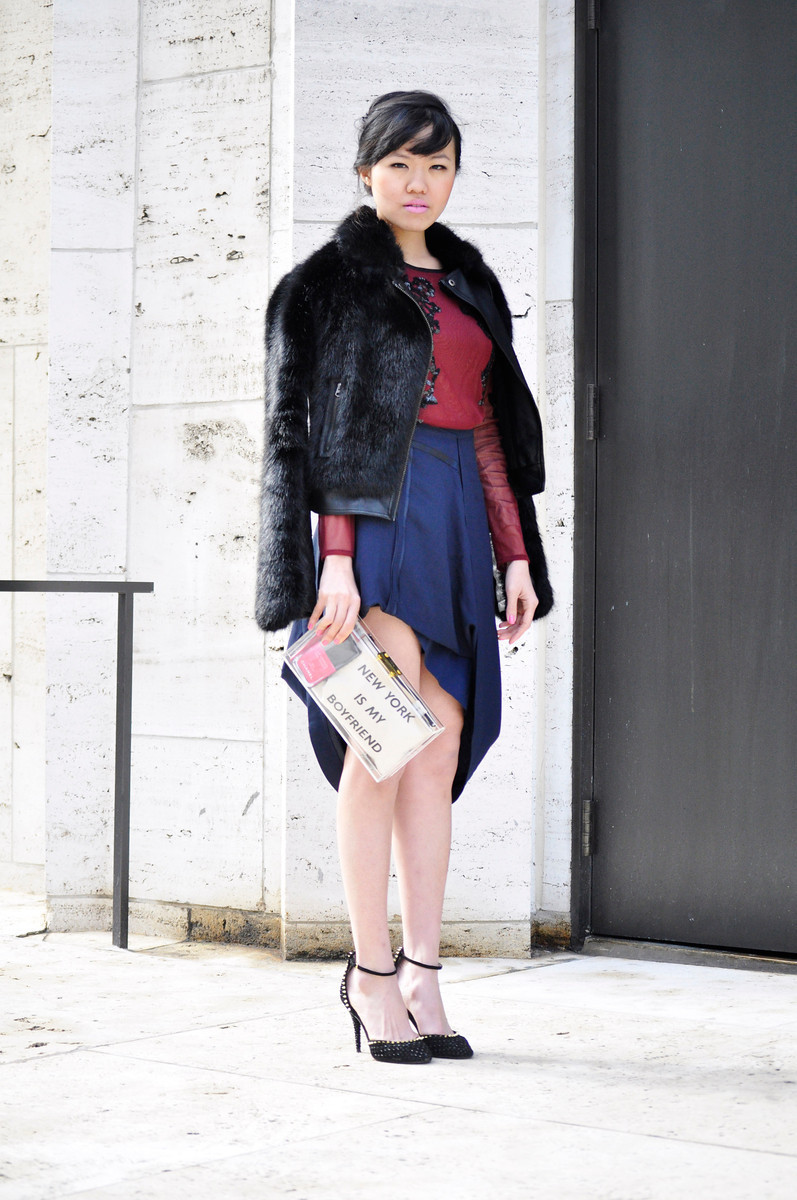 Rachel est une Parisienne#NYFW Day 8: Topshop top and jacket | Margiela Skirt | MNO.logie clutch       photos by Nicole and Darrel Hunter