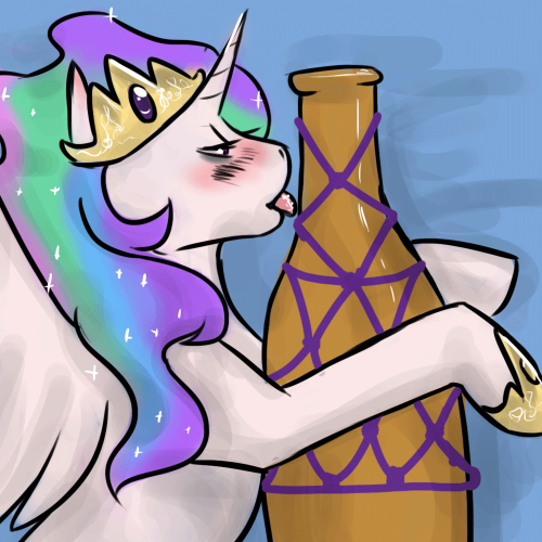 This Thursday's tied up is Drunk Celestia. Before Shibari could get the princess in ropes, the princess asked her favorite drink be tied up first. Clearly, Shibari didn't get a chance to touch the princess. http://ask-drunkcelestia.tumblr.com/