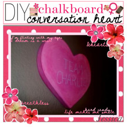 DiY Chalkboard Conversation Hearts♥ by tip-castle featuring beauty products ❤ liked on PolyvoreBeauty product / Large Spot Red Lunch Napkin PlatesAndNapkins.com / Flower Clip:: Hair Flowers: Smaller Flower Clips / Have Eyes for My iPhone Case in Cupcake