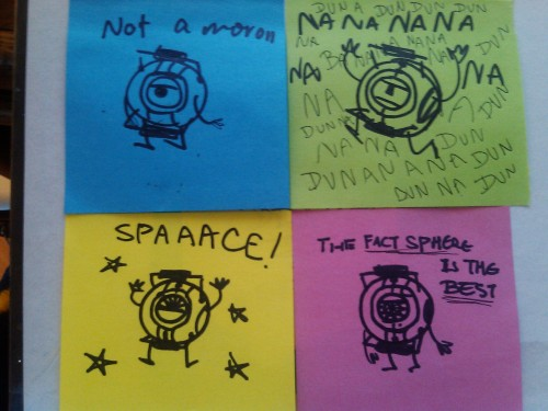 Portal 2 cores on sticky notes. they were all like 30 second doodles