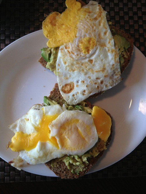 vincerehealth:  Breakfast, squirlly bread, 1/2 avocado mashed, two eggs. And of course a big cup of coffee  Exactly what I ate yesterday for snack! So good!