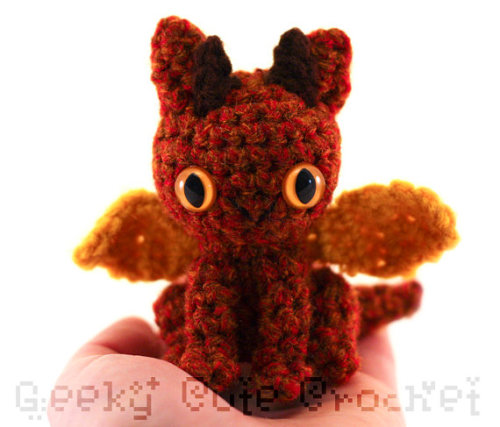 This fiery red dragon was made with a limited edition yarn color.
