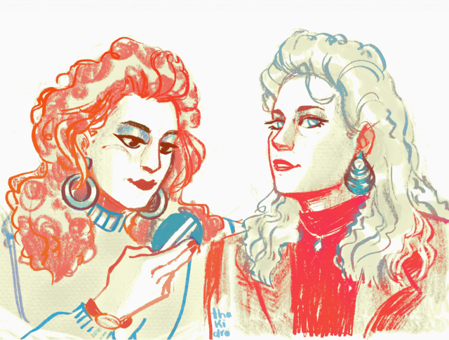 art of melanie griffith and joan cusack as tess and cyn; they are both smiling. tess looks at the viewer while cyn looks down at a makeup mirror. they wear vintage makeup, hairstyles and clothes.