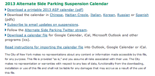 Did you know? You can add the alternate side parking suspensions to your Google, Outlook, iCal and other calendars?
