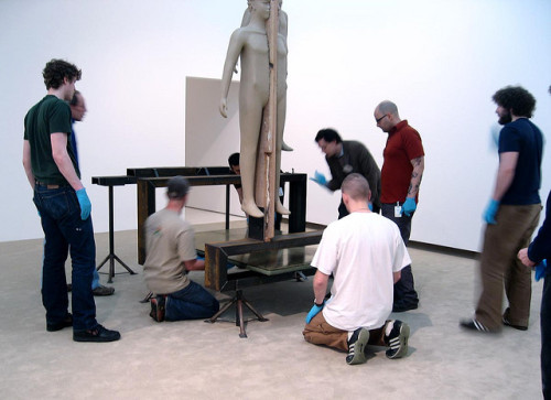 "installator:  ""Pre-opening installation view of the 2008 Carnegie International, Life on Mars, at Carnegie Museum of Art in Pittsburgh. Mark Manders installation in progress."" (Carnegie Museum of Art)"