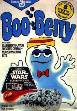 retrogasm:  Boo Berry with a Star Wars stick-on inside…