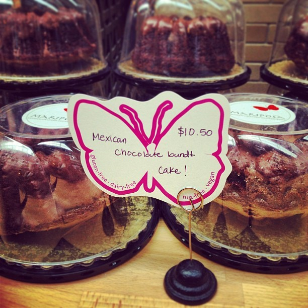This has my name written all over it! Expensive little bundt cake but #vegan #glutenfree & #mexican #chocolate 😋😍😋😍! Didn't pick one up though out of concern I'd eat it all today. Maybe later? #vegansofig #veganfoodshare #whatveganseat #veganlove #bundt #cake #mariposa  (at Mariposa Baking Co.)