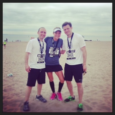bk half marathon buddies!  nice job team! @erinonthego  @justinstagram18  (at Coney Island Beach & Boardwalk)