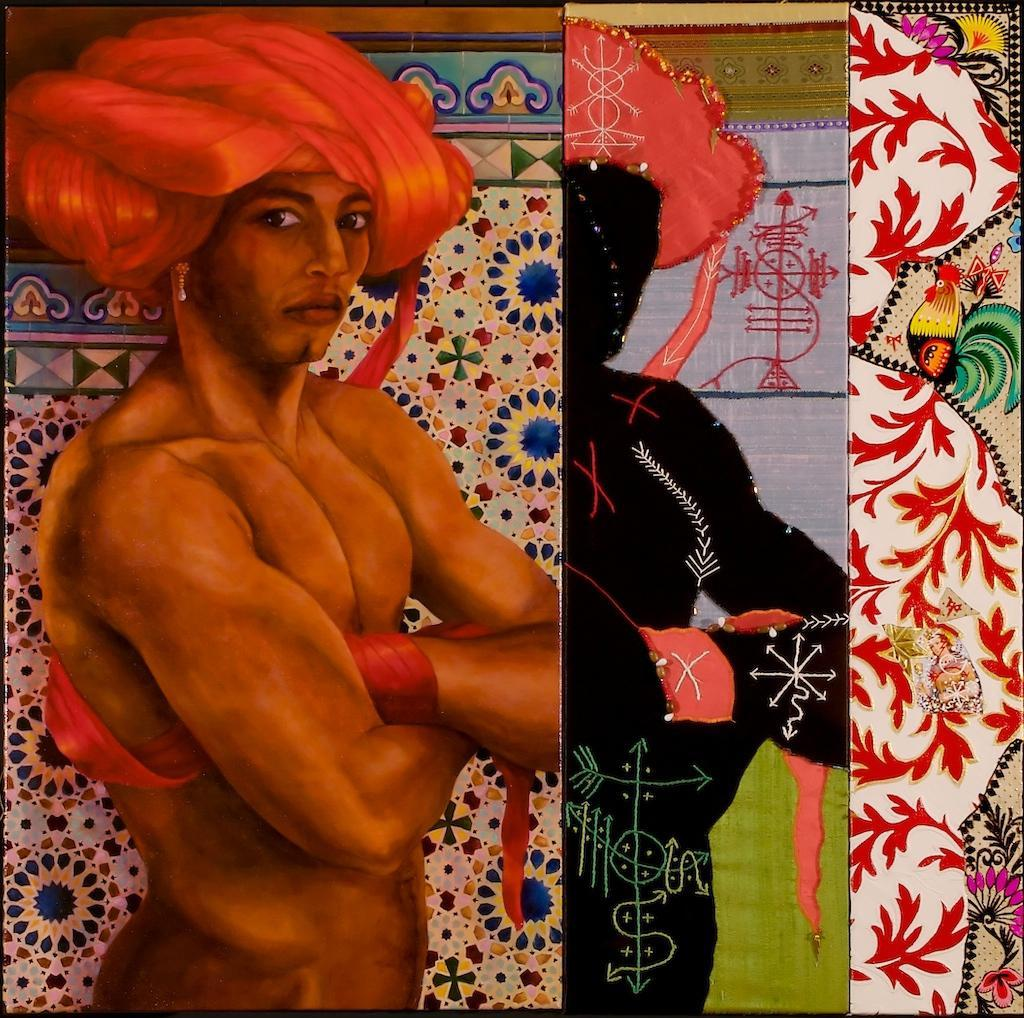 "Gerardo Castro, ""Three Sides of Chango"" (Oil on linen, beaded fabric, mixed media painting), 2011  Gerardo Castro draws on the cultural threads of his heritage: Afro-Cuban religions and symbols, spiritual beliefs, Christian iconography and powerful narratives.  Castro weaves together several layers of history to emphasize the hybridity of the Yorùbá deity Chango understood in Afro-Caribbean terms: the mosaic tile designs of Al-Andalus throwing into relief the single earring worn both in depictions of ""Moors"" on the pre-Reconquista Iberian peninsula and in reality, by the Black creole curros of colonial Havana; the sacred writing (anaforuana) of the Cross-River-derived Abakuá secret society embroidered alongside the firmas of the Kongo-inspired Palo Monte tradition; Chango's rooster, double-headed axes (oshe), and Sta. Barbara (the Roman Catholic saint to whom the orisha corresponds in Cuba) appliquéd onto European textile patterns. The crown and breaded bracelet in the center panel—written on the shadow marked in a rite of passage—resemble the ritual vestments and sacred jewelry of Lucumí initiates. It is they who can see the length of fabric at Chango's head and in his hand, yet still sing with confidence, ""Oba ko so!""—The king did not hang."