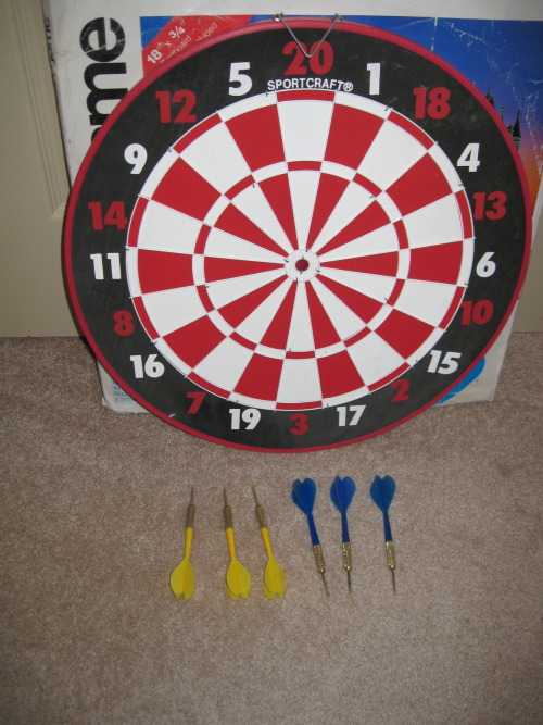 "For Sale for $40.  English 20 point clock game with baseball on reverse side. 18"" X 3/4"".* Never used* 6 Brass Darts included * Metal rim and dividers for extended product life* Rules includedFor directions and answers to any questions you may have, please call 503-724-2538."