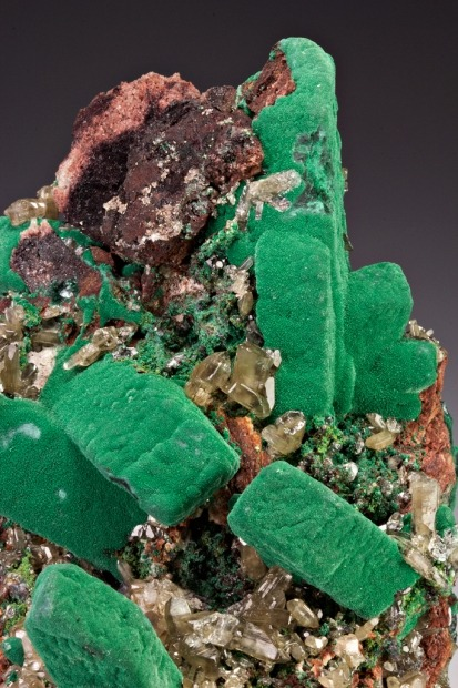 mineralia:  Malachite after Azurite with Cerussite from Namibia by Dan Weinrich