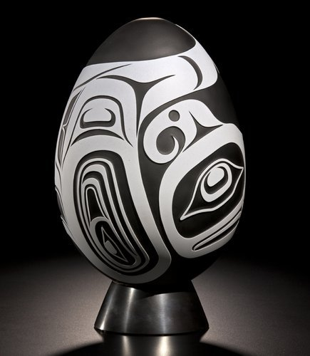 Joe David & Preston Singletary Thunderbird Egg, c.2011 ~ This glass and steel sculpture is a result of a collaboration between Nuu-chah-nulth artist Joe David and Tlingit artist Preston Singletary. The artists are extremely close, in fact, David ceremonially adopted Singletary in 2000.