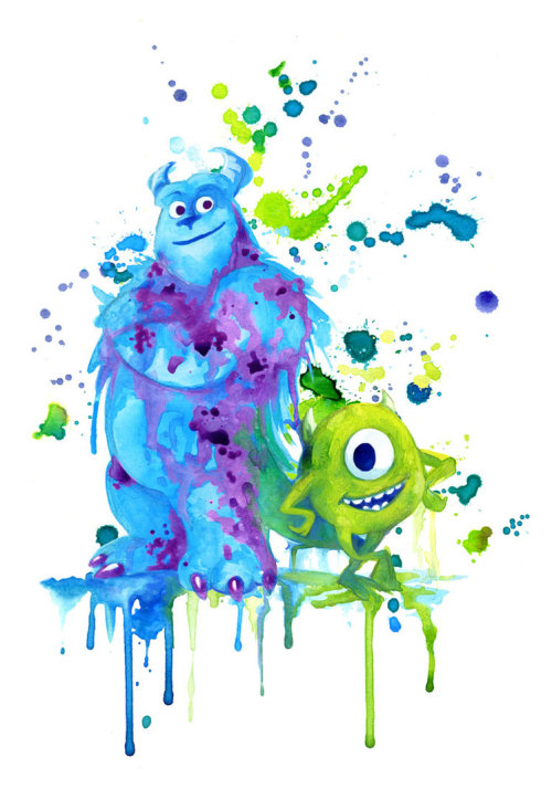 fancysomedisneymagic:  Monsters in aquarella