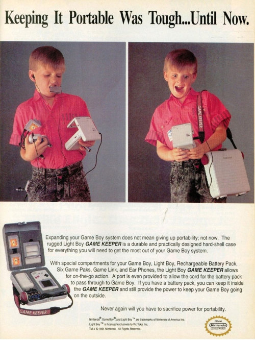 "Ad for the ""Game Keeper"" Game Boy carry case."