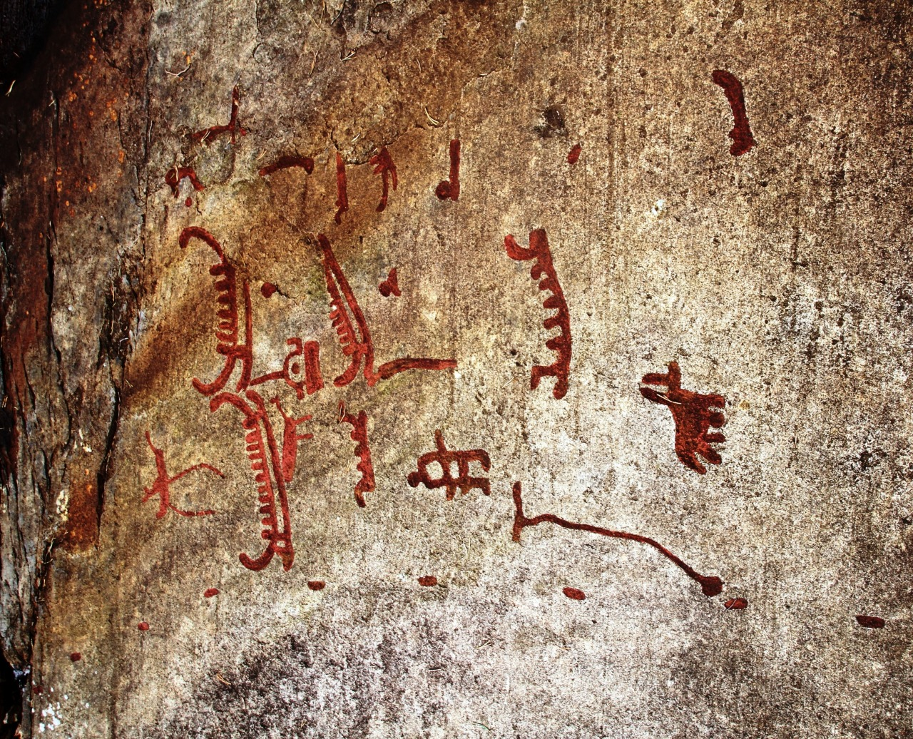 Section from the Bronze Age rock carvings in Tanum, Sweden.  The rock carvings in Tanum, in the north of Bohuslän, are a unique artistic achievement not only for their rich and varied motifs (depictions of humans and animals, weapons, boats and other subjects) but also for their cultural and chronological unity. They reveal the life and beliefs of people in Europe during the Bronze Age and are remarkable for their large numbers and outstanding quality. You can read more about this site on UNESCO World Heritage.  Photo courtesy & taken by Bjoertvedt