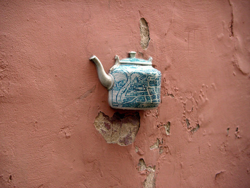 Teapot 2 by Mar.tin on Flickr.[Image: A teapot embedded in a wall.]