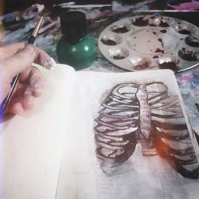Painting some rib cages  (at CourtneyMakesStuff.com)