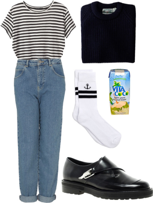 mum jeans by avalon featuring jersey t shirtsProenza Schouler jersey t shirt / Topshop  jeans / ASOS  / WEST END KNITWEAR Donegal Fisherman Rib Crewneck Sweater / TOPMAN White Anchor Tube Socks, $6.12 / Beauty product