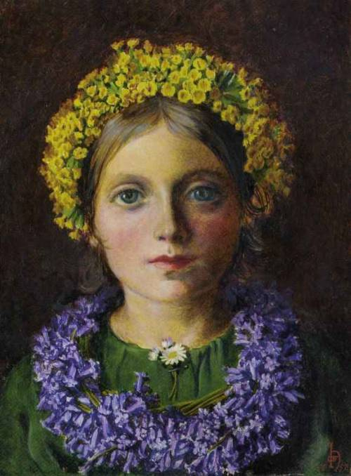 Portrait of a Girl, adorned with cowslips, bluebells and a daisy (1858), Michael Frederick Halliday. Oil on panel.