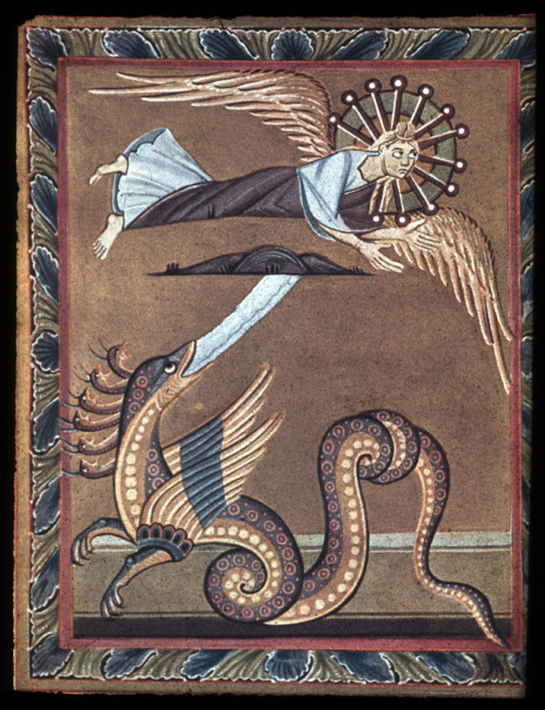 medieval:  Bamberg Apocalypse: Angel and the Serpent Ottonian 11th Century Staatsbibliothek Bamberg, Ms. Bibl. 140