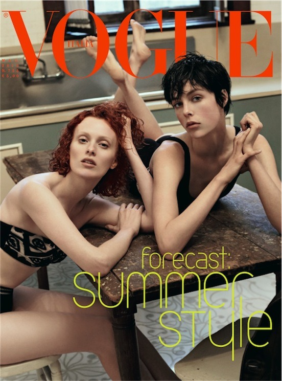 hfgl:  and another epic Vogue Italia cover! Karen Elson and Edie Campbell by Steven Meisel, May 2013