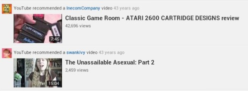 YouTube recommended a video…  43 YEARS AGO! Atari and asexuality?  Gotta say, spot on with those recommendations.  Amazing that it knew what I'd be interested in years before I was born.  Of course, that's not what I was looking for when I went to that site, and I've now completely lost track of what I was actually doing there. Oh well.  I'm going to go watch that Atari cartridge video now.