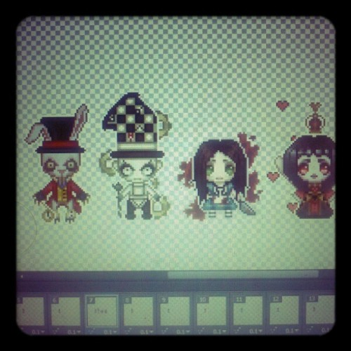 So far I have gotten four #alicemadnessreturns pixels done. I still need to do the Cheshire cat. Hmm. #pixelart #americanmcgee