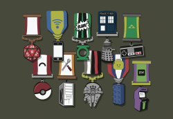 pwnlove:  Geeky Medals of Honor Don't just be a nerd, be a well decorated nerd with this new t-shirt by Split Reason ($18.95). Be proud of all your accomplishments such as your Pokemon Gym Badges, Arcade High Score, NES Master and more.